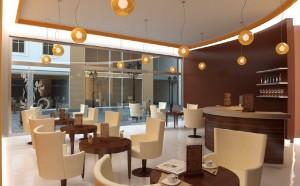 صحنه رستوران کافی شاپ مدرن پاریس بار کاپوچینو کافی میکر مدل آماده رندر | A7AI0602
