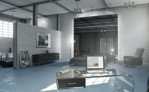 صحنه خانه کامل استودیویی لامپ هالوژن میز مطالعه صندلی استراحت مبلمان پذیرایی تختخواب دونفره مدل آماده رندر | A7AI0608