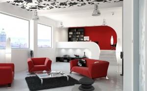 صحنه خانه کامل استودیویی مبلمان پذیرایی شگی فرش کوچک اتاق کار مطالعه کامپیوتر پرینتر زونکن مدل آماده رندر | A7AI0609