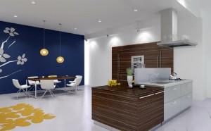 صحنه آشپزخانه اپن هود سینک میز غذاخوری ناهارخوری مدرن مدل آماده رندر | A7AI0610