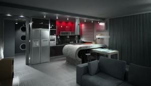 صحنه آشپزخانه اپن صندلی کانتر یخچال فریزر هود مبلمان راحتی مدل آماده رندر | A7AI0703