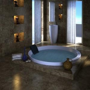 صحنه جکوزی حمام روشویی حوله مدل آماده رندر | A7AI0705