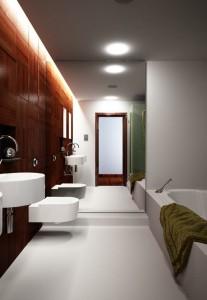 صحنه آشپزخانه حمام روشویی حوله آینه قدی توالت فرنگی مدل آماده رندر | A7AI0710