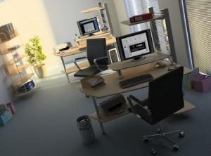 صحنه اتاق کارمندی اداری صندلی کامپیوتر زونکن ست اداری پرینتر گلدان مدل آماده رندر | A7AI0801
