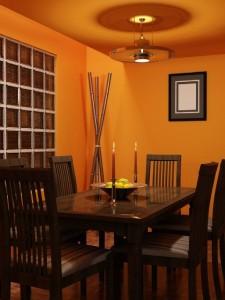صحنه اتاق غذاخوری خانه منزل میز چوبی لوستر ظرف میوه مدل آماده رندر | A7AI0804