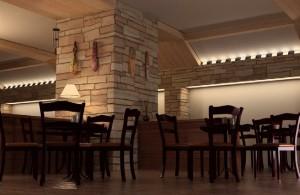 صحنه رستوران میز صندلی چوبی دیوار سنگی مدل آماده رندر | A7AI0805