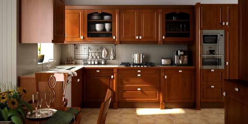 رندر آشپزخانه چوبی کلاسیک