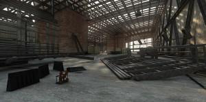 صحنه سوله کارگاهی تیرآهن کف کثیف سیمانی مدل آماده رندر | A7AI0910
