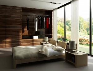 صحنه اتاق خواب کمد دیواری چوبی تخت تختخواب پتو بالش آباژور مدل آماده رندر | A7AI1001