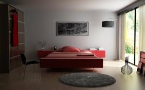 صحنه اتاق خواب مدرن آباژور قاب عکس مدرن کف پارکت چوب لمینت مدل آماده رندر | A7AI1002