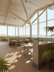 صحنه رستوران ساحلی چوب کافی شاپ دریا مدل آماده رندر | A7AI1003