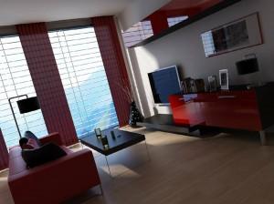 صحنه اتاق تلویزیون مدرن ال سی دی پرده کرکره مدرن آباژور مدل آماده رندر | A7AI1004