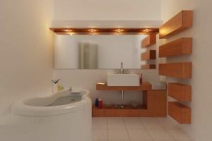 صحنه دستشویی حمام وان روشویی شامپو صابون آیینه مدل آماده رندر | A7AI1006