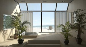 صحنه هتل کنار دریا جکوزی ساحل گلدان مدل آماده رندر | A7AI1009