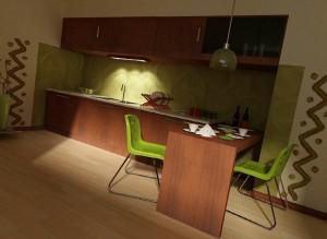 صحنه آشپزخانه اپن فانتزی صندلی کانتر مدل آماده رندر | A7AI1010