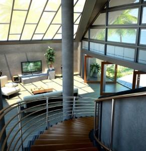 صحنه ویلا منزل خانه در ورودی اتاق تلویزیون مبل راحتی گلدان مدل آماده رندر | A7AI1101