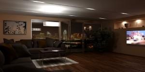 صحنه اتاق تلویزیون مبل ال راحتی گل گلدان تراس بالکن کف پارکت چوب لمینت مدل آماده رندر | A7AI1103