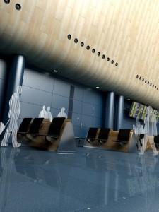 صحنه فضای عمومی فرودگاه ایستگاه قطار سالن انتظار مدل آماده رندر | A7AI1104