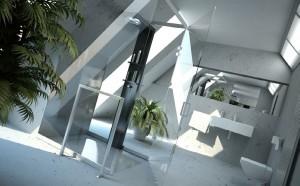 صحنه دستشویی حمام دوش روشویی توالت فرنگی گلدان مدل آماده رندر | A7AI1109
