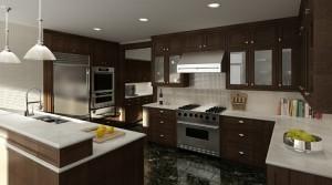 صحنه آشپزخانه کلاسیک استیل فرگاز یخچال فریزر هود سینک ظرف میوه کتاب لوستر مدل آماده رندر   A7AI1204
