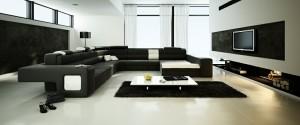 صحنه اتاق نشیمن تلویزیون شومینه مبل ال بزرگ شگی فرش کوسن آباژور هیزم پرده توری ساده مدل آماده رندر | A7AI1206