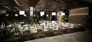 صحنه رستوران بزرگ میز صندلی گلدان مدل آماده رندر | A7AI1210