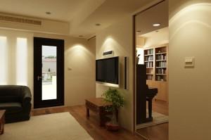 صحنه اتاق تلویزیون کتابخانه فرش بنسای کف پارکت چوب لمینت مدل آماده رندر | A7AI1307