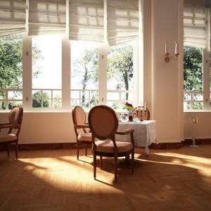 صحنه رستوران کلاسیک میز غذاخوری استیل صندلی شمعدان گلدان مدل آماده رندر   A7AI1309