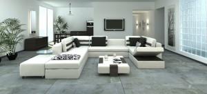 صحنه اتاق پذیرایی تلویزیون نشیمن مدرن مبل ال کوسن گلدان لوستر مدل آماده رندر | A7AI1401