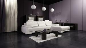صحنه اتاق نشیمن پذیرایی مبل ال مدرن میز شیشه ای لوستر کف سرامیک کمد چوبی فرش پرز دار پرده ساده مدل آماده رندر | A7AI1403