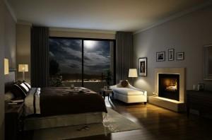 صحنه اتاق خواب هتل خانه منزل تخت تختخواب بالش پتو شومینه قاب عکس پرده ساده کف چوبی پارکت لمینت مدل آماده رندر | A7AI1406