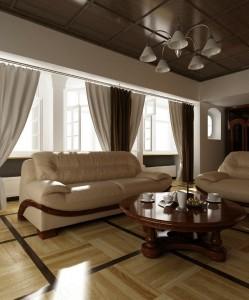 صحنه اتاق پذیرایی نشیمن لوستر مبل آمریکایی راحتی کف سقف چوبی مدل آماده رندر | A7AI1410