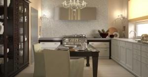 صحنه آشپزخانه کامل کلاسیک وسایل تزئینی میز غذاخوری چوبی آناناس کمد ظروف چینی فرگاز هود سینک ظروف چینی مدل آماده رندر | A7AI1501