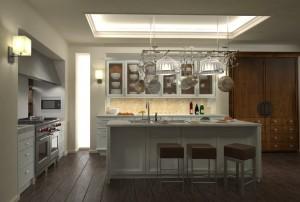 صحنه آشپزخانه چوبی کامل لوستر فرگاز هود کمد چوبی ظروف چینی کف چوب مدل آماده رندر | A7AI1502