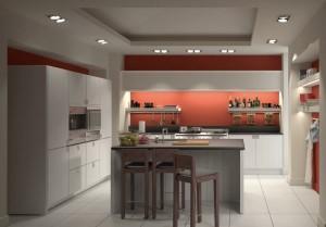 صحنه آشپزخانه کامل فر مایکروویو وسایل تزئینی صندلی کانتر سینک فرگاز هود ظروف ادویه مدل آماده رندر   A7AI1503