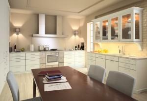 صحنه آشپزخانه کامل میز ناهارخوری فرگاز هود قابلمه سینک کف پارکت مدل آماده رندر | A7AI1504