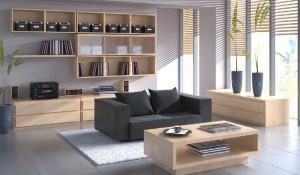 صحنه اتاق نشیمن مطالعه کتابخانه گلدان بلندگو مدل آماده رندر | A7AI1506