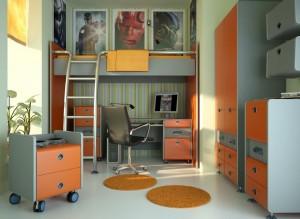 صحنه اتاق کار خواب تخت خواب گلدان پوستر فیلم کامپیوتر میزکار صندلی مدل آماده رندر   A7AI1507
