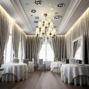 صحنه رستوران کلاسیک استیل صندلی پرده لوستر مدل آماده رندر | A7AI1602