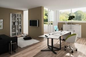 صحنه اتاق مطالعه کار میزکار صندلی گلدان لپتاپ کتابخانه تلویزیون فرش پرزدار کفپوش پارکت چوب لمینت مدل آماده رندر | A7AI1603