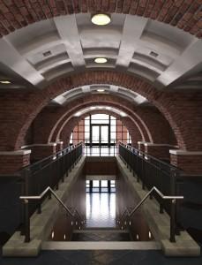 صحنه فضای عمومی قدیمی آجری کتابخانه راه پله سنگی طاق منحنی مدل آماده رندر | A7AI1604