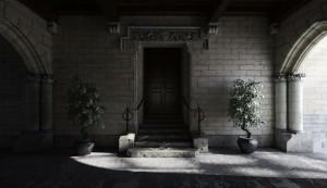 صحنه فضای عمومی ورودی خانه قدیمی راه پله گلدان مدل آماده رندر | A7AI1605