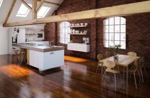 صحنه آشپزخانه کامل اپن صندلی کانتر صندلی میز غذاخوری یخچال فریزر دیوار آجری کف پارکت مدل آماده رندر | A7AI1606