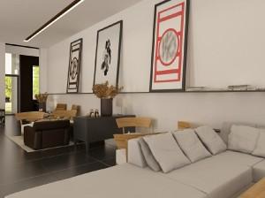 صحنه اتاق نشیمن پذیرایی قاب عکس مدرن مبل راحتی وسایل تزئینی منزل خانه شمع گلدان تزئینی مدل آماده رندر | A7AI1701