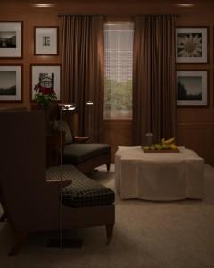 صحنه اتاق نشیمن کلاسیک پرده قاب عکس آباژور گل گلدان ظرف میوه مدل آماده رندر | A7AI1702