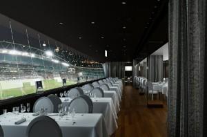 صحنه رستوران استادیوم فوتبال میز صندلی غذاخوری کف پارکت مدل آماده رندر | A7AI1703