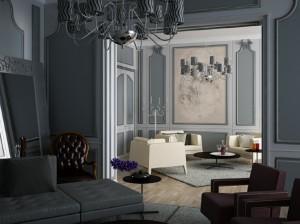 صحنه اتاق نشیمن مبل مطالعه آباژور لوستر گلدان تزئینی مدل آماده رندر | A7AI1705
