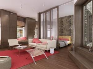 صحنه اتاق خواب نشیمن تختخواب تخت کوسن صندلی راحتی کمد چوبی مدل آماده رندر | A7AI1706