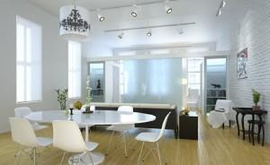 صحنه اتاق نشیمن میز صندلی غذاخوری لوستر مبل کف پارکت مدل آماده رندر | A7AI1707