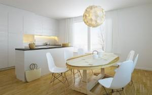صحنه آشپزخانه اپن میز صندلی چوب آباژور پرده توری کمد کابینت مدل آماده رندر | A7AI1710